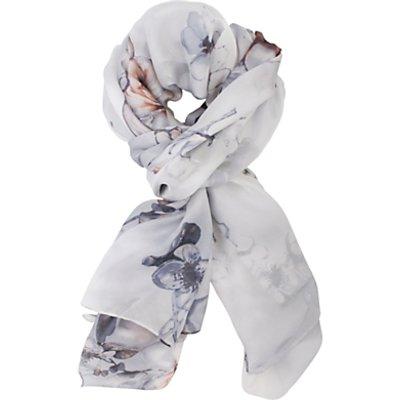 Chesca Soft Floral Print Silk Scarf, Silver/White