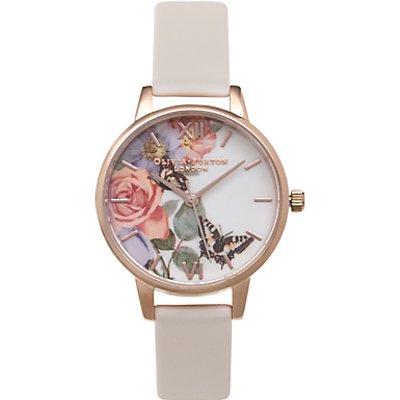 Olivia Burton OB15FS68 Women's Enchanted Garden Leather Strap Watch, Blush/Multi
