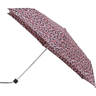 John Lewis Super Slim Telescopic Umbrella, Burgundy/Leopard
