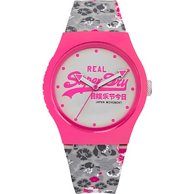 Superdry SYL169EP Women's Urban Floral Silicone Strap Watch, Grey/White