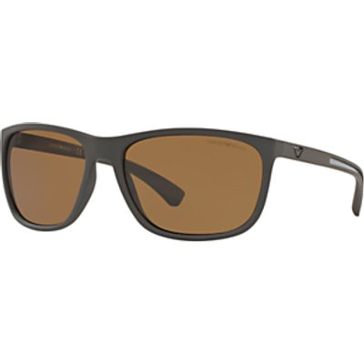 Emporio Armani EA4078 Polarised Rectangular Sunglasses, Matte Brown