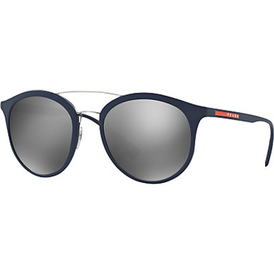 Prada Linea Rossa PS 04RS Oval Sunglasses, Navy/Silver