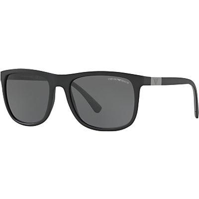 Emporio Armani EA4076 Square Sunglasses, Matte Black