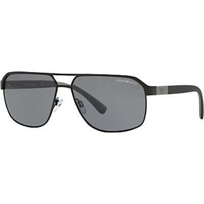 Emporio Armani EA2039 Polarised Rectangular Sunglasses, Black