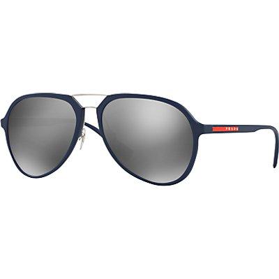 Prada Linea Rossa PR05RS Round Framed Sunglasses, Silver