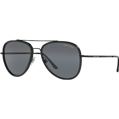 Giorgio Armani AR6039 Polarised Frames of Life Aviator Sunglasses, Black