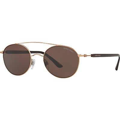 Giorgio Armani AR6038 Round Sunglasses, Rose Gold/Brown