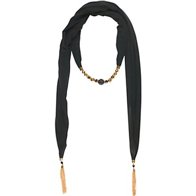 Chesca Jewelled Jersey Scarf, Black