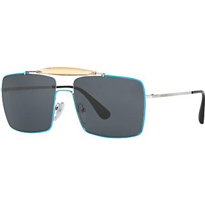 Prada PR57SS Square Sunglasses, Silver/Turquoise
