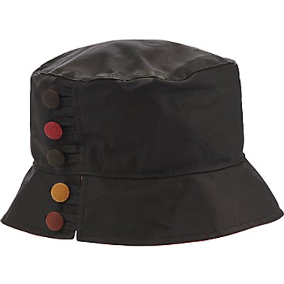 Olney Waxed Cotton Button Detail Rain Hat, Black