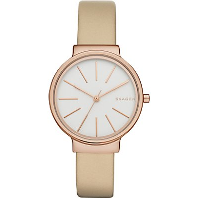 Skagen SKW2481 Women's Ancher Leather Strap Watch, Oatmeal/White