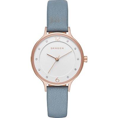 Skagen SKW2497 Women's Anita Crystal Leather Strap Watch, Pale Blue/White
