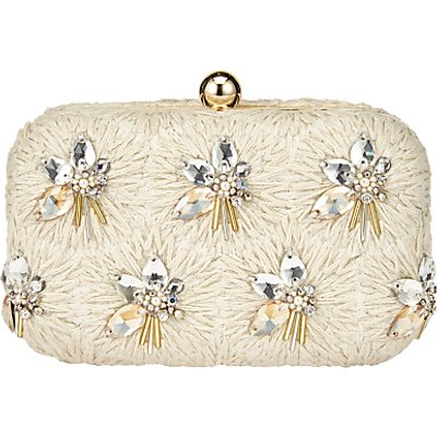 John Lewis Bianca Bead Clutch Bag, Ivory