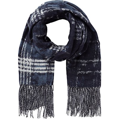 East Abstract Check Scarf, Blue