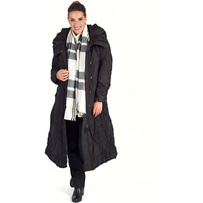 Chesca Check Blanket Scarf, Black/Ecru