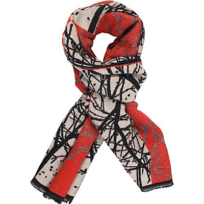 Chesca Ruby Striking Forest Pattern Scarf, Red/Black