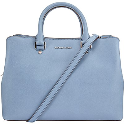 MICHAEL Michael Kors Savannah Large Leather Satchel, Denim