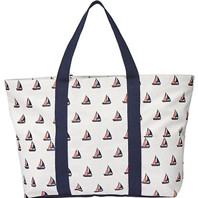 John Lewis Boat Print Canvas Tote Bag, Navy / Nude