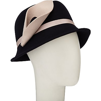 John Lewis Calla Lily Flower Cloche Hat, Navy/Nude
