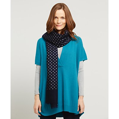 East Silk Wool Spotted Scarf, Navy