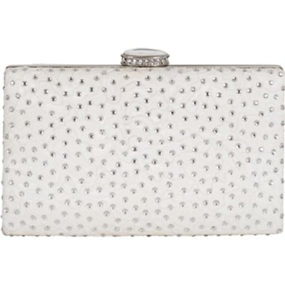 Chesca Floral Lace Diamante Clutch Bag, Ivory