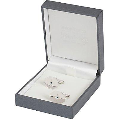 Simon Carter for John Lewis Hexagonal Sterling Silver Sapphire Cufflinks, Silver
