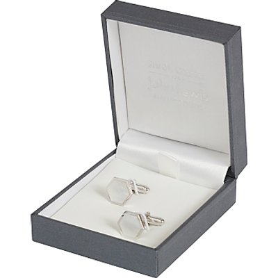 Simon Carter for John Lewis Hexagonal Sterling Silver Mother of Pearl Cufflinks, Silver