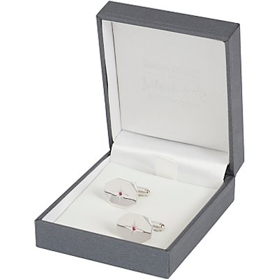 Simon Carter for John Lewis Hexagonal Sterling Silver Ruby Cufflinks, Silver