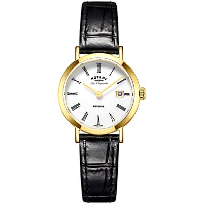 Rotary LS90156/01 Women's Les Originales Windsor Date Leather Strap Watch, Black/White