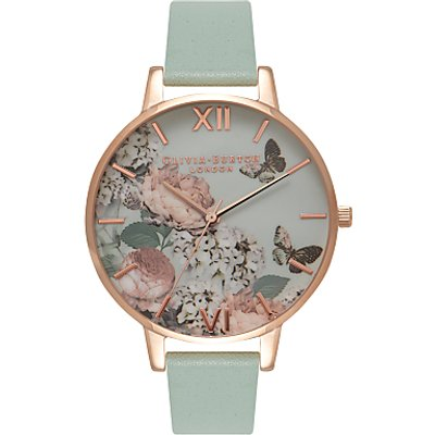 Olivia Burton OB16EG47 Women's Enchanted Garden Leather Strap Watch, Mint