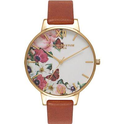 Olivia Burton OB16ER07 Women's English Garden Leather Strap Watch, Tan/White