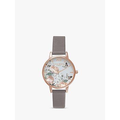 Olivia Burton OB16EG67 Women's Enchanted Garden Leather Strap Watch, Grey/White