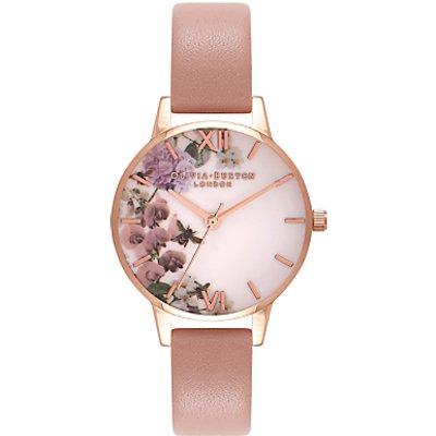 Olivia Burton OB16EG56 Women's Enchanted Garden Leather Strap Watch, Blush/White