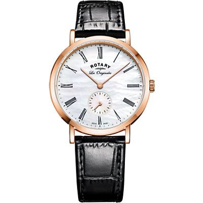 Rotary LS90193/41 Women's Les Originales Leather Strap Watch, Black/White