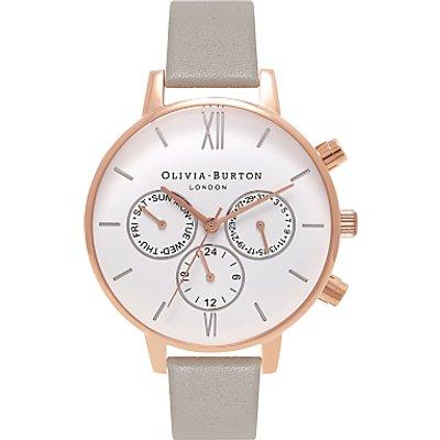 Olivia Burton OB16CG91 Chrono Detail Chronograph Leather Strap Watch, Grey/White