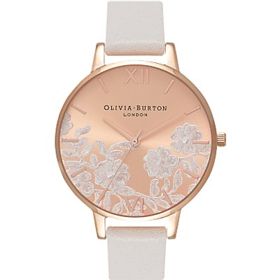 Olivia Burton OB16MV53 Women's Lace Detail Leather Strap Watch, Blush/Rose Gold