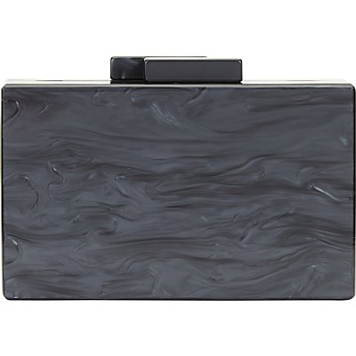 John Lewis Stormm Box Clutch Bag, Black