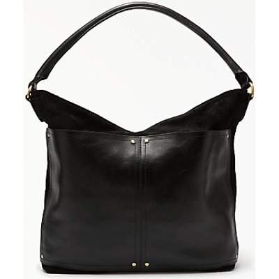John Lewis Aurora Leather Medium Shoulder Bag, Black