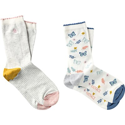 Fat Face Stripe and Butterfly Print Ankle Socks, Pack of 2, Cream/Multi