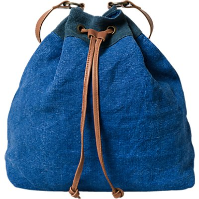 East Jute Drawstring Shoulder Bag, Blue