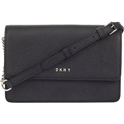 DKNY Bryant Park Saffiano Leather Small Flap Across Body Bag, Black