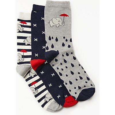 John Lewis Elephant In The Rain Ankle Socks, Pack of 3, Multi