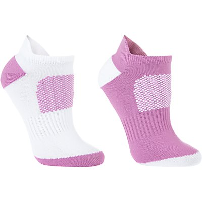 John Lewis Sports Trainer Socks, Pack of 2, White/Neon Purple
