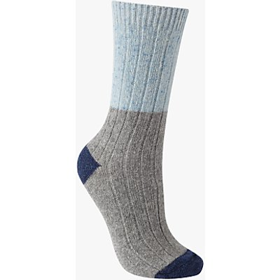 John Lewis Wool Silk Mix Ribbed Colour Block Ankle Socks, Grey/Sky Blue