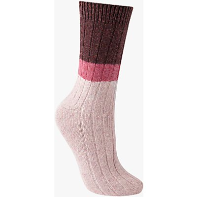 John Lewis Wool and Silk Blend Ribbed Colour Block Ankle Socks, Burgundy/Candy Pink