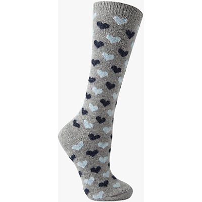 John Lewis Wool Silk Mix Mini Heart Print Knee High Socks, Grey/Navy
