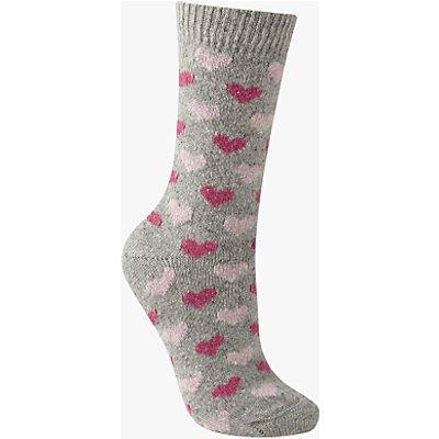 John Lewis Wool Silk Mix Mini Heart Print Ankle Socks