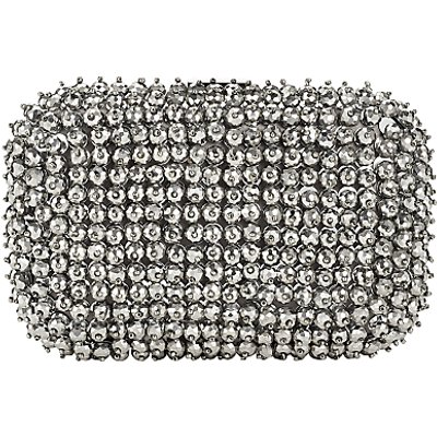 John Lewis Florence Box Clutch Bag, Silver