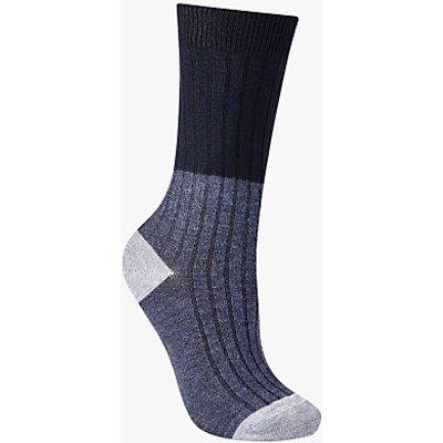 John Lewis Rib Colour Block Ankle Socks, Navy/Grey