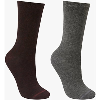 John Lewis Solid Colour Ankle Socks, Pack of 2, Burgundy/Grey